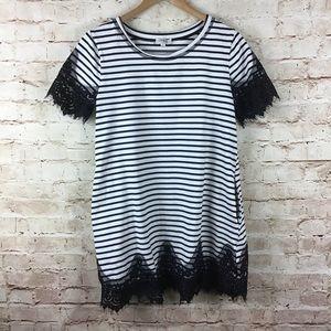 umgee White Black Striped Lace Dress Small